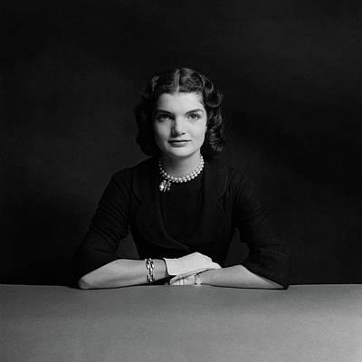 Pearl Necklace Photograph - Portrait Of Jacqueline Bouvier by Richard Rutledge