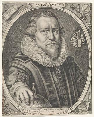 Terrestrial Drawing - Portrait Of Johan Sems, Jacob Matham by Jacob Matham