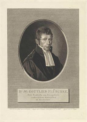 Dirk Drawing - Portrait Of Johann Gottlieb Plschke, Dirk Sluyter by Dirk Sluyter And Jan F. Numan