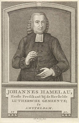 Amsterdam Drawing - Portrait Of Johannes Hamelau, Amsterdam, 1737 by Quint Lox