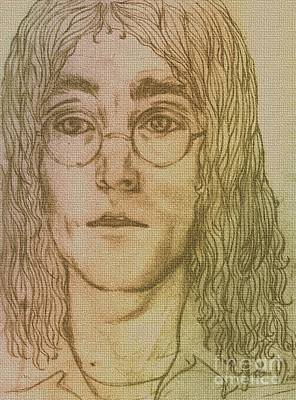 Pastel - Portrait Of John Lennon by Joan-Violet Stretch