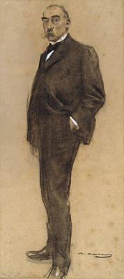 Drawing - Portrait Of Josep Masriera by Ramon Casas