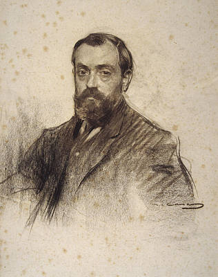 Drawing - Portrait Of Josep Pous I Pages by Ramon Casas