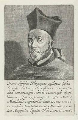 Bishop Drawing - Portrait Of Joseph De Bergaigne, Pieter Nolpe by Pieter Nolpe