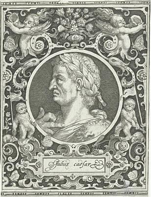Portrait Of Julius Caesar In Medallion Inside Rectangular Art Print by Nicolaes De Bruyn