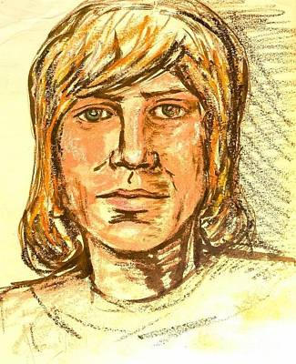 Drawing - Portrait Of Justin Hayward 3 by Joan-Violet Stretch