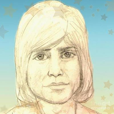 Drawing - Portrait Of Justin Hayward by Joan-Violet Stretch