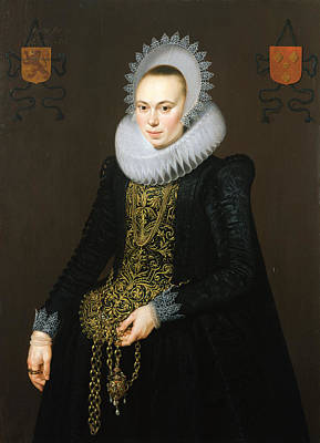 Portrait Of Justina Van Teylingen, 1616 Oil On Panel See 307901 For Pair Art Print