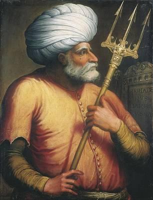 Portrait Of Khair Ed-din, C.1550 Oil On Canvas Print by Italian School