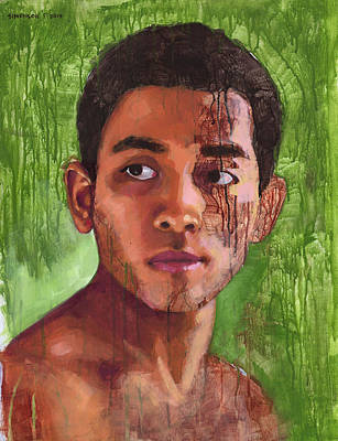 Drippy Painting - Portrait Of Khanh by Douglas Simonson