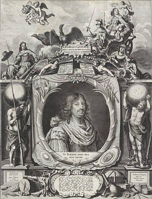 Sweden Drawing - Portrait Of King Charles Gustav Of Sweden by Pieter Nolpe