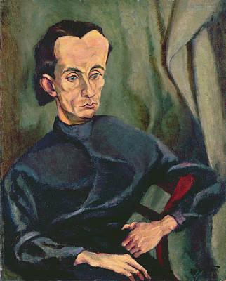 Painter Photograph - Portrait Of Lasjos Kassak 1887-1967 Oil On Canvas by Tihonyi Lajos