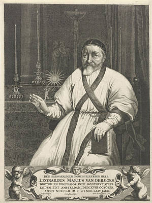 Marius Drawing - Portrait Of Leonard Marius Van Der Goes, Cornelis Goutsbloem by Cornelis Goutsbloem And Frederik De Wit