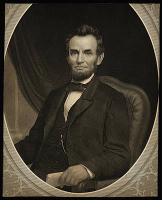 Education Painting - Portrait Of Lincoln Holding A Document In His Left Hand Facing Slightly Left by MotionAge Designs