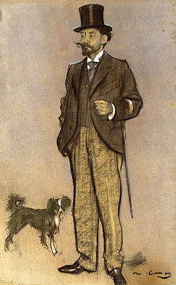 Buy Dog Art Drawing - Portrait Of Lluis Figuerola by Ramon Casas