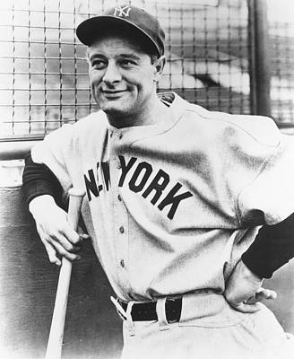 Mid Adult Photograph - Portrait Of Lou Gehrig by Underwood Archives