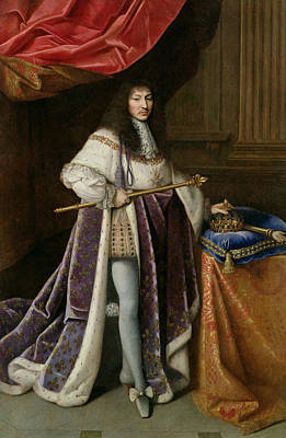 Sun King Photograph - Portrait Of Louis Xiv 1638-1715 Oil On Canvas by French School