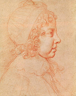 Portrait Of Louis Xiv As A Child Red Chalk On Paper Art Print