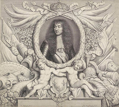 Cornucopia Drawing - Portrait Of Louis Xiv, King Of France, Pieter Van Schuppen by Pieter Van Schuppen