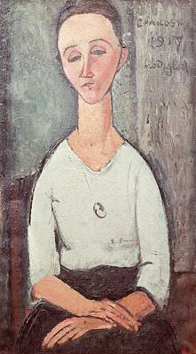 Photograph - Portrait Of Madame Chakowska, 1917 Oil On Canvas by Amedeo Modigliani