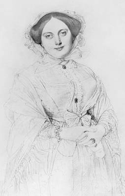 Folded Drawing - Portrait Of Madame Ingres by Jean Auguste Ingres