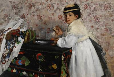 Portrait Of Mademoiselle Hortense Valpincon Art Print by Edgar Degas