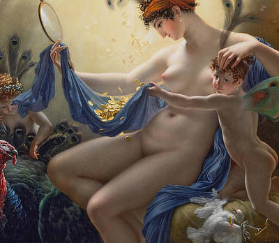 Danae Painting - Portrait Of Mademoiselle Lange As Danae by Anne Louis Girodet de Roucy Trioson