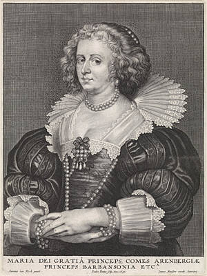 Work On Paper Drawing - Portrait Of Maria De Barbançon, Princess Of Arenberg by Quint Lox