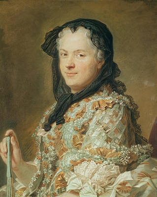 Lace Photograph - Portrait Of Maria Leszczynska, Queen Of France And Navarre, 1744-48 Pastel by Maurice Quentin de la Tour