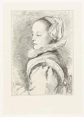 Roemer Drawing - Portrait Of Maria Tesselschade Roemer Visscher by Artokoloro