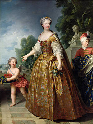 Portrait Of Marie Leczinska 1703-68 After 1725 Oil On Canvas Art Print