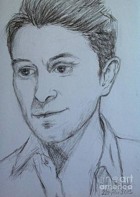 Drawing - Portrait Of Mark Owen by Joan-Violet Stretch