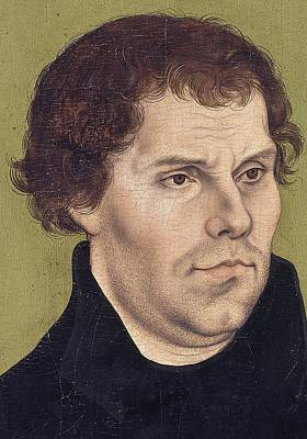 Theologians Painting - Portrait Of Martin Luther Aged 43 by Lucas Cranach