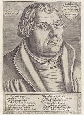Data Drawing - Portrait Of Martin Luther, Lucas Cranach II by Lucas Cranach (ii)