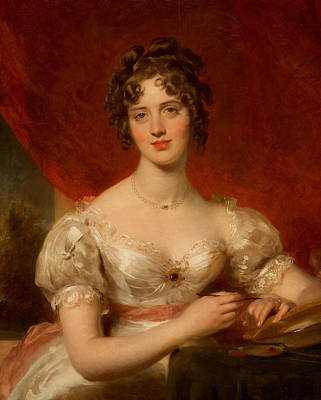 Silk Painting - Portrait Of Mary Anne Bloxam by Thomas Lawrence