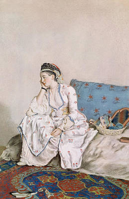 Persian Carpet Painting - Portrait Of Mary Gunning by Jean-Etienne Liotard