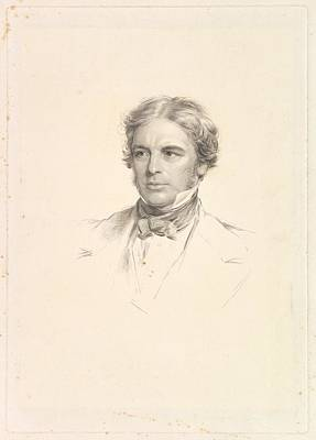 Stipple Drawing - Portrait Of Michael Faraday by After George Richmond