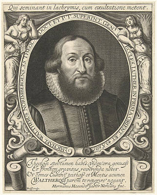 Portrait Of Michel Waltherus At The Age Of 42 Art Print by Willem Jacobsz. Delff