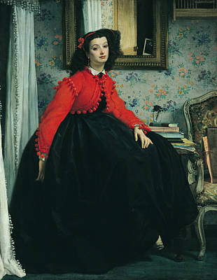 Red Drape Painting - Young Lady In A Red Jacket by James Jacques Joseph Tissot