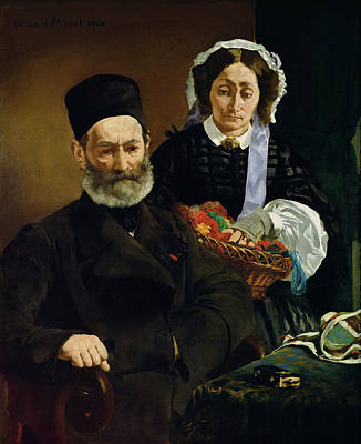 Photograph - Portrait Of Monsieur And Madame Auguste Manet, 1860 Oil On Canvas by Edouard Manet