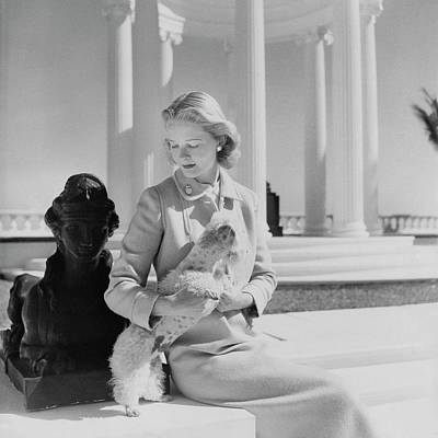 Portrait Of Mrs. Winston Guest With A Dog Art Print by Cecil Beaton