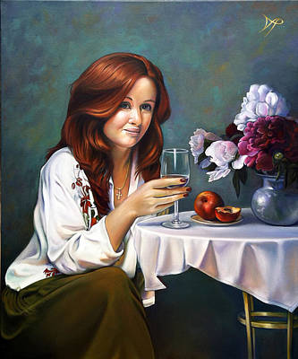 Wine Glass Painting - Portrait Of Nadia With Peonies And Peaches by Patrick Anthony Pierson
