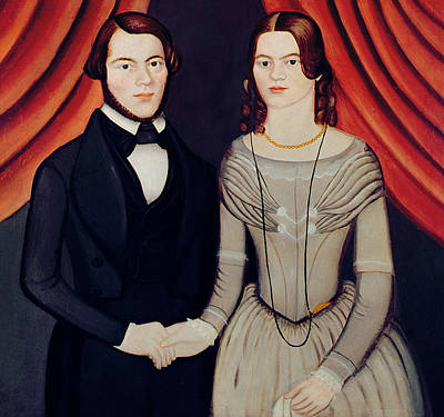 Red Drape Painting - Portrait Of Newlyweds by American School