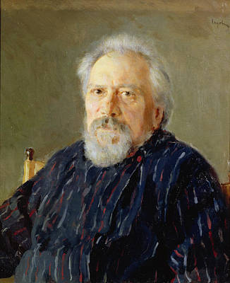 C19th Photograph - Portrait Of Nikolay Leskov Oil On Canvas by Valentin Aleksandrovich Serov