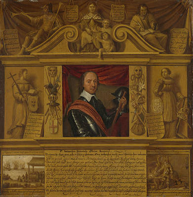 Portrait Of Oliver Cromwell, In A Frame With Allegorical Art Print