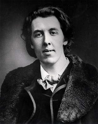 Portrait Of Oscar Wilde 1854-1900 Wearing An Overcoat With A Fur Collar Bought For His Trip Print by English Photographer