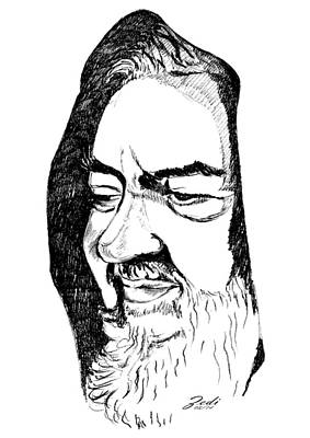 Portrait Of Padre Pio Art Print by Ze  Di