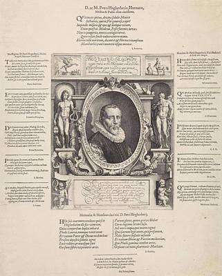 Pegasus Drawing - Portrait Of Peter Hogerbeets, Print Maker Jan Saenredam by Jan Saenredam And Karel Van Mander I And D. Heynsius