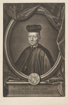 Family Crest Drawing - Portrait Of Peter Schultheis, Gerard Valck by Gerard Valck