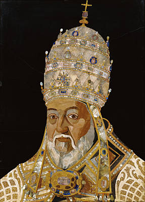 Limestone Painting - Portrait Of Pope Clement Viii Ippolito Aldobrandini by Litz Collection